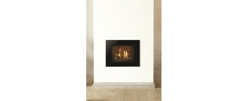 Small Azure Black Widow Glass Gas Fire