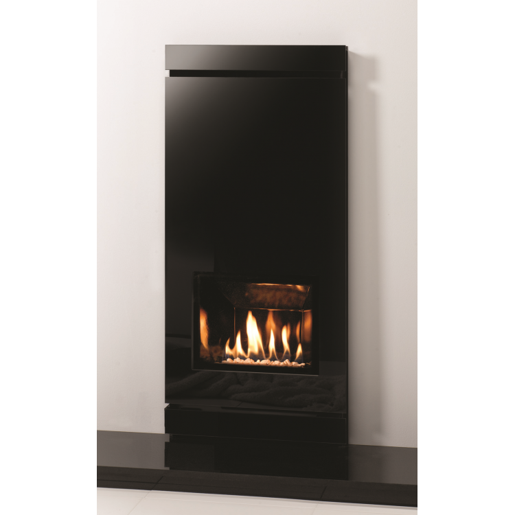 Amber Icon Black Glass Gas Fire