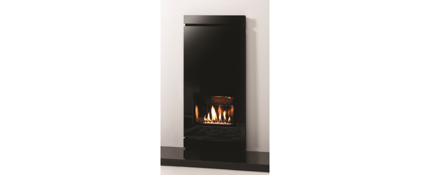 Amber Large Ludo Black Glass Gas Fire