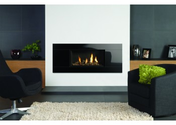 Slice Gas Fire with Large Black Glass Trim