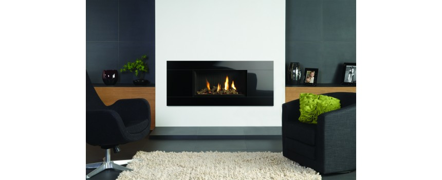 Slice gas fire with large black glass trim for How to cut glass with fire