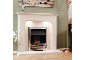 Sienna Straight Natural Portuguese LimeStone Fireplace